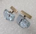 Запонки- серебро 875 и голубое ювелирное стекло