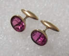 Vintage Soviet Cuffllinks with the Artifficial Ruby.