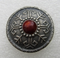 Vintage Soviet Latvia Ethnic Silver Brouch with Amber. Mark 875.