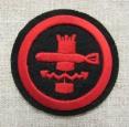 Postwar Soviet Navy VMF USSR Sleeve Patch of Mine & Torpedo Staff.