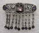 German Silver Brouch with the Amethyst. Art Deco.