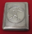 "Russian/Soviet Vintage Cigarette Case ""Football"". Brass Silver plated."