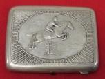 "Russian/Soviet Vintage Cigarette Case ""Horse Sport"". German Silver."