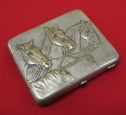 """Russian/Soviet Vintage Cigarette Case """"Horses"""". Brass Silver plated."""