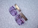 Запонки- серебро 875 и розовое ювелирное стекло