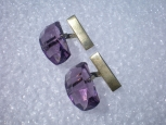 Vintage Soviet Cuflinks. Silver and Violet Glass.