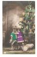 "Children & Christmas Tree - ""Happy Christmas"" Postcard."